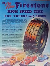 Firestone High Speed Tires. Full Page Color Illustration (trucks on highway /... - $14.99