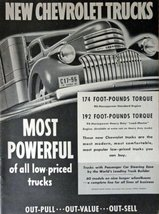1941 Chevrolet Trucks, Print advertisment. 40's B&W Illustration, 10 1/4... - $12.86