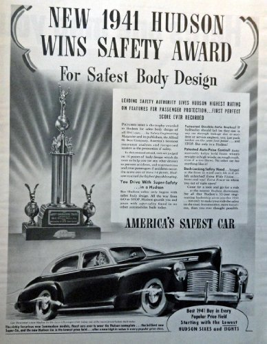 "Primary image for 1941 Hudson, 40's Full Page B&W Illustration, 10 3/4"" x 13 1/2"" Print Ad. (Hu..."