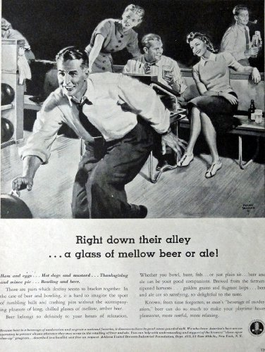 "Primary image for United Brewers, 1941 Print Advertisment. B&W Illustration, 10 1/2"" x 13 1/2"" ..."