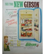 "Gibson Refrigerators, 50's Color Illustration, Print Ad. 10 1/2"" x 13 1/... - $12.86"