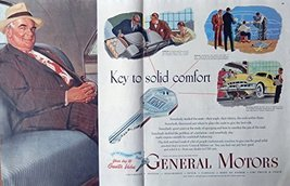 General Motors, 40's Print ad. Color Illustration (key to solid comfort) Auth... - $14.84