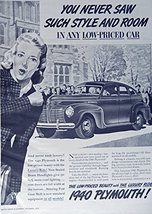 1940 Plymouth, 30's Print ad. B&W Illustration (you never saw such style and ... - $12.86