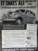 1940 Chevrolet Cars, 40's Print ad. Full Page B&W Illustration (new excl... - $13.85