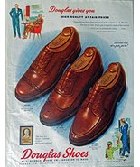 Douglas Shoes, 40's Print ad. full page Color Illustration (style 6644 t... - $12.86