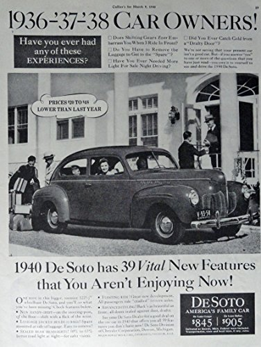 Primary image for 1940 DeSoto Car, 40's Print Ad. Full Page B&W Illustration (prices $20 to $48...