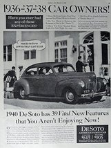 1940 DeSoto Car, 40's Print Ad. Full Page B&W Illustration (prices $20 t... - $12.86