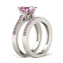 Beautiful 925 Sterling Silver Princess Pink Sapphire Engagement Bridal Ring Set - $99.99