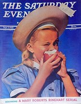 The Saturday Evening Post Cover art, young girl eating an apple, Color I... - $14.84