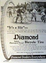 "Diamond Bicycle Tire, Print Advertisment. 1913 B&W Illustration, 5"" x 7""... - $12.86"
