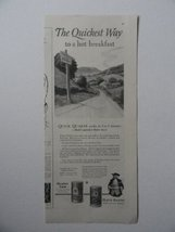 Quaker Rolled Oats, 20's Print Ad. B&W Illustration (road sign outside of tow... - $11.87