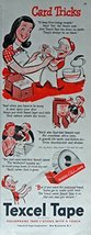 Texcel Tape, 40's Print ad. Color Illustration (card tricks) Original Vintage... - $12.86