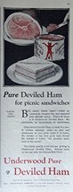 Underwood Deviled Ham, 20's Print Ad. Color Illustration (for picnic sandwich... - $12.86