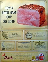 "Rath Ham, 60's full page Color Illustration, 10 1/4"" x 13 3/4"" Print Ad. (how... - $12.86"