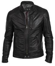 Men's Biker Hunt Black Motorcycle Leather Jacket - $49.99+