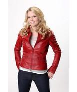 """ONCE UPON A TIME"" Jennifer Morrison ""Emma Swan"" Ladies Red Sheep Leather Jacket - $69.29 - $108.89"