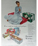 Harman Watches, 40's Print ad. Full Page Color Illustration (woman blue ... - $19.99