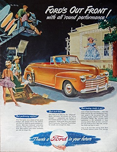 Primary image for 1947 Ford Car, 40's Print ad. Full Page Color Illustration (Stan Klinley art ...