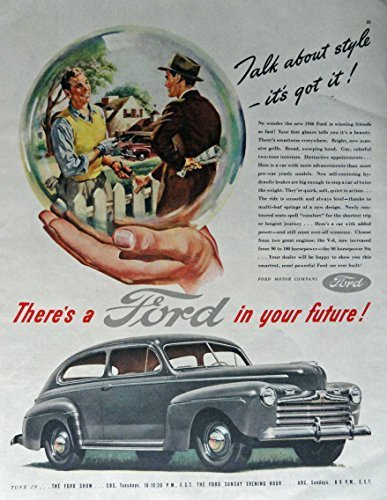 Primary image for 1946 Ford, 40's Print Ad. Full Page Color Illustration (talk about style its ...