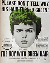 The Boy With Green Hair, original movie poster, 40's Print ad. full page Colo... - $13.85