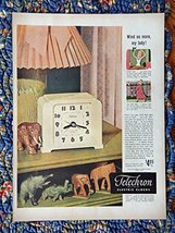 Telechron Clocks, 40's Print ad. full page Color Illustration (wind no more m... - $12.86