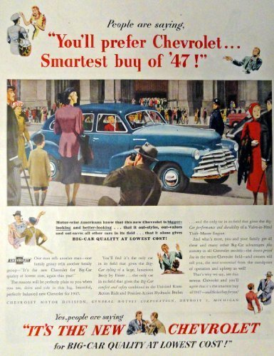 Primary image for 1947 Chevrolet Car, Print advertisment. 40's Full Page, Color Illustration, 1...