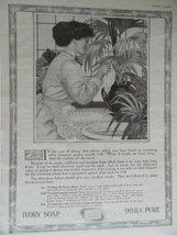 Ivory Soap, 1913 Print Ad. B&W Illustration (woman washing plants) Origi... - $13.85