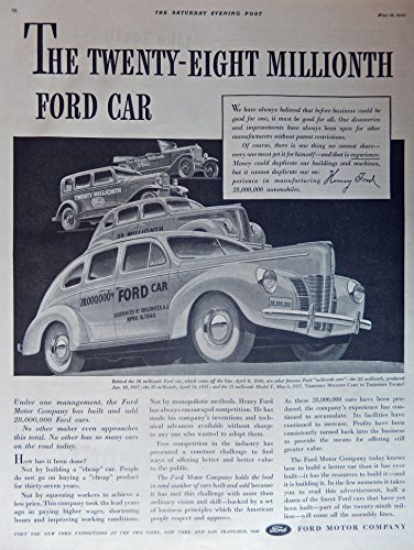Primary image for 1940 Ford Cars, 40's Print ad. Full Page B&W Illustration (28 millionth car, ...