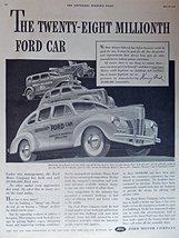1940 Ford Cars, 40's Print ad. Full Page B&W Illustration (28 millionth ... - $12.86