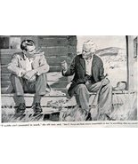 """Carl Bobertz,1948 B&W Illustration 7 1/2""""x 5 1/2"""" Print art (2 men sitti... - $11.87"""