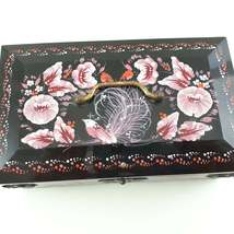 USSR Black Plastic Musical Jewelry Box with Pink Hand painted Floral Motif  image 4