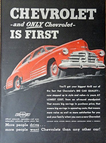 Primary image for 1948 Chevrolet, 40's Print Ad. Color Illustration (Red Car) Original Vintage ...