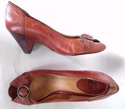 FRY Wood Heels Studded Metal Leather Chestnut Brown Shoe Pump Buckle Sz 9M - $47.24