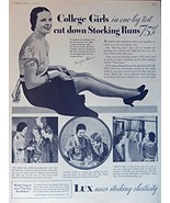 Lux Soap, 1930's Print ad. B&W Illustration (college girls in one leg te... - $18.99