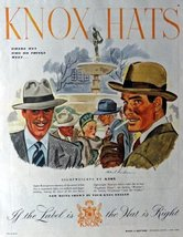 "Knox Hats, 40's Print Ad. Color Illustration 10 1/2"" X 13 1/2"" Print Art. (wh... - $12.86"