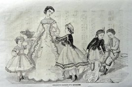 "Fashion Page, 1800's Engraved & Printed by Illman Brother's B&W Art, 9"" ... - $15.83"