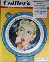 Roswell Keller, 50's, Color Illustration, Magazine Cover art (Woman eati... - $15.83