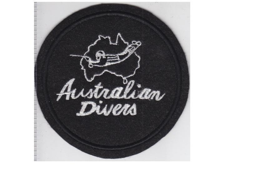A   france australian divers la spirotechnique australian operations 1968 white on black 4.25 in