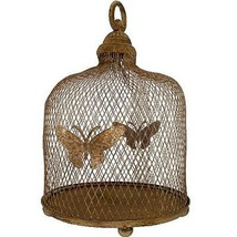 Butterfly Primitive Country Candle Holder Lantern Light Rustic Brown Iro... - $64.35