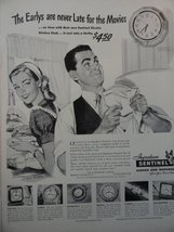 Ingraham Sentinel Clocks and Watches ,40's B&W Illustration/Painting, Print A... - $14.99