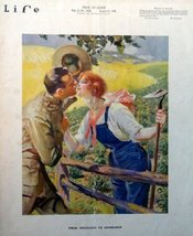 Life Magazine Cover, 1918 Illustration (man and woman kissing over fence) [co... - $18.80