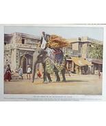 Elephant in Jaipur, 1921 Color print art, (no circus) Rare 1921 National... - $14.84