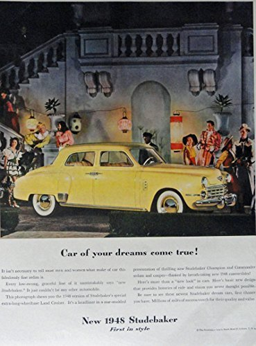 Primary image for 1948 Studebaker, 40's Print Ad. Full Page Color Illustration (Car of your dre...