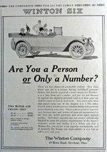 "Winton Six Cars, 1916 Print Advertisment. B&W Illustration 7 1/2"" X 10"" ... - $12.86"