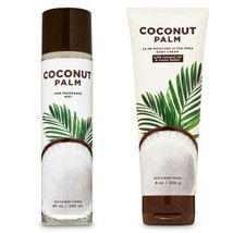 2 Pc Bath & Body Works Coconut Palm Fragrance Mist, Cream Full Sz. Set New - $23.36