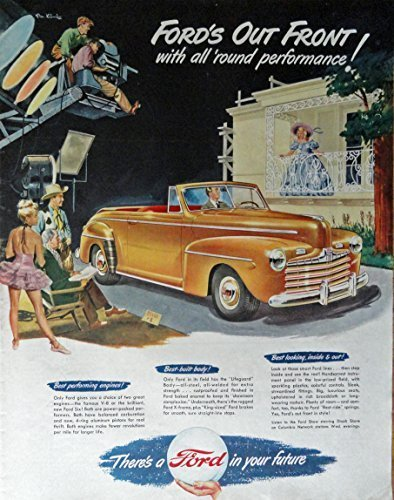 Primary image for 1947 Ford Car, 40's Print ad. Full Page Color Illustration (Ford's out front ...