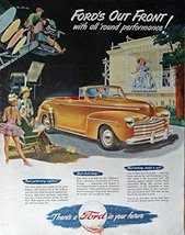 1947 Ford Car, 40's Print ad. Full Page Color Illustration (Ford's out f... - $14.84