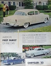 1953 Chrysler, 50's Print Ad. Color Illustration (chrysler New Yorker ,Windso... - $12.86