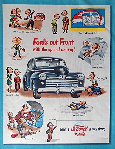Primary image for 1947 Ford Car, 40's Print ad. Full Page Color Illustration (ford's out front-...