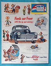 1947 Ford Car, 40's Print ad. Full Page Color Illustration (ford's out f... - $13.85